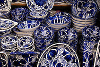 Blue and white pottey from Dolores Hidalgo for sale in the market in San Miguel de Allende, Mexico