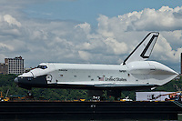 Space Shuttle Enterprise passes by the Hudson river on its way up the Hudson River to be placed at the Intrepid Sea, Air and Space Museum in New York, June 6, 2012. / VIEW..