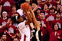 30 November 2011: David Rivers #2 of the Nebraska Cornhuskers puts up two points against Chase Fischer #10 of the Wake Forest Demon Deacons at the Devaney Sports Center in Lincoln, Nebraska. Wake Forest defeated Nebraska 55 to 53.