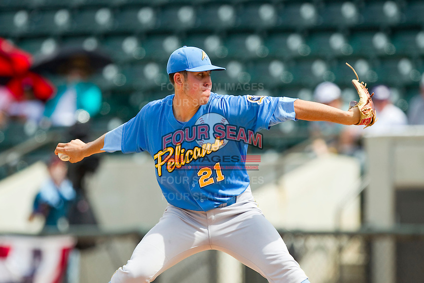 Myrtle Beach Pelicans starting pitcher Paul Schwendel (21) in action against the Winston-Salem Dash at BB&T Ballpark on July 7, 2013 in Winston-Salem, North Carolina.  The Pelicans defeated the Dash 6-5 in 8 innings in game two of a double-header.  (Brian Westerholt/Four Seam Images)