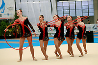 USA Senior Group performs hoops + clubs at 2007 Genoa World Cup of Rhythmic Gymnastics Groups on June 9, 2007 at Genoa, Italy.  (Photo by Tom Theobald)