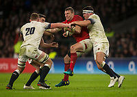 Wales' Hadleigh Parkes is tackled by Englands' Jamie George<br /> <br /> Photographer Bob Bradford/CameraSport<br /> <br /> NatWest Six Nations Championship - England v Wales - Saturday 10th February 2018 - Twickenham Stadium - London<br /> <br /> World Copyright &copy; 2018 CameraSport. All rights reserved. 43 Linden Ave. Countesthorpe. Leicester. England. LE8 5PG - Tel: +44 (0) 116 277 4147 - admin@camerasport.com - www.camerasport.com