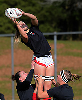 Kayla Mack warms up for the 2017 International Women's Rugby Series rugby match between Canada and Australia Wallaroos at Smallbone Park in Rotorua, New Zealand on Saturday, 17 June 2017. Photo: Dave Lintott / lintottphoto.co.nz
