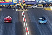 Feb. 23, 2013; Chandler, AZ, USA; NHRA super gas driver Clint Fishel during the Arizona Nationals at Firebird International Raceway. Mandatory Credit: Mark J. Rebilas-
