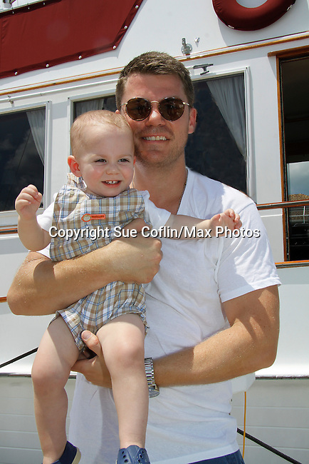 Jeff Branson and son Van James - Actors from Y&R, Days and General Hospital donated their time to Southwest Florida 16th Annual SOAPFEST and during the weekend took a break to chill on one of the boats to see dolphins and to swim off Marco Island, Florida on May 23, 2015 - a celebrity weekend May 22 thru May 25, 2015 benefitting the Arts for Kids and children with special needs and ITC - Island Theatre Co.  (Photos by Sue Coflin/Max Photos)