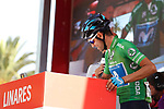 Green Jersey Alejandro Valverde (ESP) Movistar Team at sign on before the start of Stage 8 of the La Vuelta 2018, running 195.1km from Linares to Almaden, Spain. 1st September 2018.<br /> Picture: Unipublic/Photogomezsport | Cyclefile<br /> <br /> <br /> All photos usage must carry mandatory copyright credit (&copy; Cyclefile | Unipublic/Photogomezsport)
