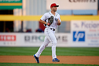 Binghamton Rumble Ponies left fielder Tim Tebow (15) jogs off the field during a game against the Erie SeaWolves on May 14, 2018 at NYSEG Stadium in Binghamton, New York.  Binghamton defeated Erie 6-5.  (Mike Janes/Four Seam Images)