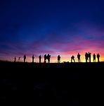 Photographers at sunset, Skagit Flats, Washington