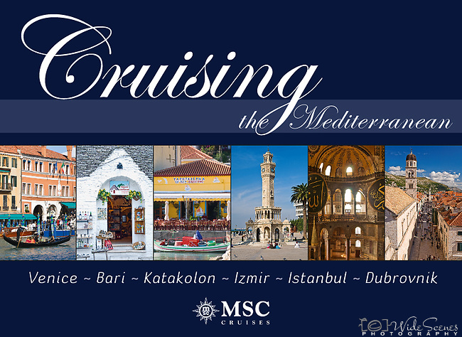 Cruising the Mediterrannean: Venice, Bari, Katakolon, Izmir, Istanbul, Dubrovnik - Souvenir pictorial book, 80 pages, hard cover with full colour images that sell onboard vessels operated by MSC Cruises and follow the specific itinerary. Text in English, Italian, French, German, Spanish.<br />