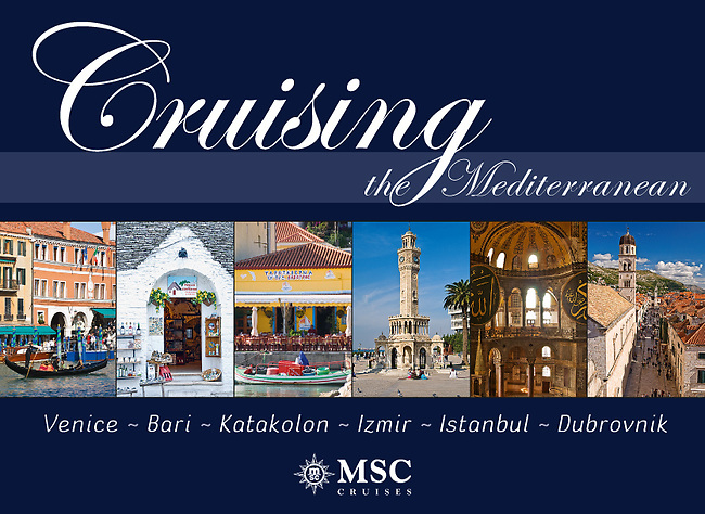 Cruising the Mediterrannean: Venice, Bari, Katakolon, Izmir, Istanbul, Dubrovnik - Souvenir pictorial book, 80 pages, hard cover with full colour images that sell onboard vessels operated by MSC Cruises and follow the specific itinerary. Text in English, Italian, French, German, Spanish.<br /> To view sample pages of this book please click on this link:http://bit.ly/1kt228M