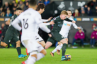 Kevin De Bruyne of Manchester City gets past Ki Sung-Yueng of Swansea City during the EPL - Premier League match between Swansea City and Manchester City at the Liberty Stadium, Swansea, Wales on 13 December 2017. Photo by Mark  Hawkins / PRiME Media Images.