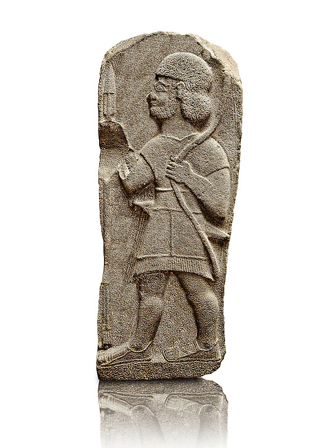 Late Hittite Basalt funereal Steel with a relief sculpture of a warrior from 9 - 8th Cent B.C, excavated from Arslan Tash (Turkish; Arslan Lion, Taş Stone), ancient Hadātu, is an archaeological site in northern Syria 30km east of the Euphrates River and nearby the town of Ain al-Arab. Istanbul Archaeological Museum Inv. No 1981.