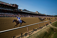 SARATOGA SPRINGS, NY - AUGUST 26: Drefong #10, ridden by Mike Smith gallops out past the wire after he wins the Forego Stakes at Saratoga Race Course on August 26, 2017 in Saratoga Springs, New York.(Photo by Alex Evers/Eclipse Sportswire/Getty Images)