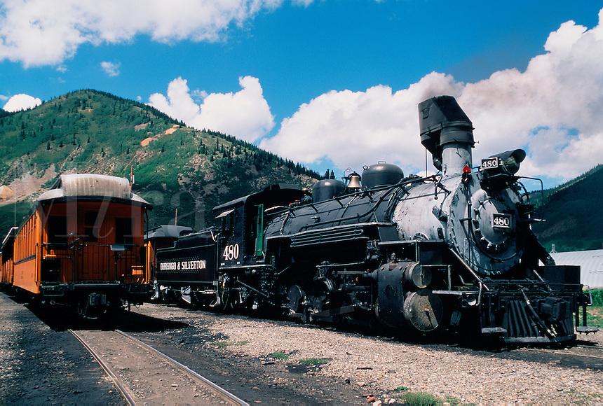 Durango & Silverton Narrow Gauge (D&SNG)Steam Locomotive # 480. A National Historic Landmark. Silverton, Colorado.