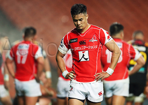 April 29th 2017, FMG Stadium Waikato, Hamilton, New Zealand; Super Rugby; Chiefs versus Sunwolves;  Sunwolves reserve Yu Tamura dejected during the Super Rugby rugby match
