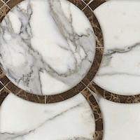 Montgomery Large, a stone water jet mosaic, shown in Calacatta Tia and Emperador Dark, is part of the Ann Sacks Beau Monde collection sold exclusively at www.annsacks.com