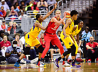 Washington, DC - June 15, 2018: Washington Mystics guard Elena Delle Donne (11) guarded by Los Angeles Sparks forward Nneka Ogwumike (31) during game between the Washington Mystics and Los Angeles Sparks at the Capital One Arena in Washington, DC. (Photo by Phil Peters/Media Images International)