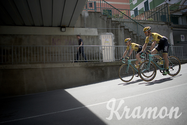 Nick van der Lijke (NLD/Team LottoNL-Jumbo) & Rick Flens (NLD/LottoNL-Jumbo) on their way to the start<br /> <br /> 2015 Giro<br /> st4: Chiavari - La Spezia (150km)