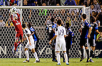 San Jose Earthquakes goalkeeper Jon Busch (18) leaps high for a save. The LA Galaxy and the San Jose Earthquakes played to a 2-2 draw at Home Depot Center stadium in Carson, California on Thursday July 22, 2010.