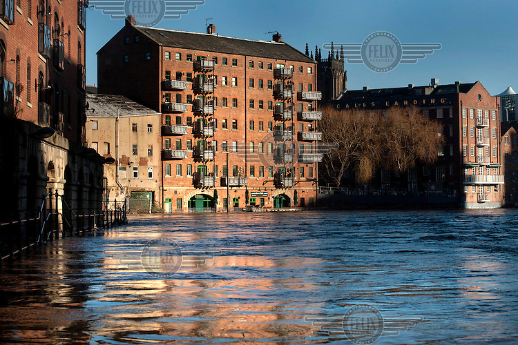 Some of the many bars and restaurants flooded by the River Aire in the upmarket The Calls area of city centre Leeds after heavy rains over the Chirstmas holiday weekend.