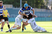 Zach Mercer of Bath United is double-tackled. Aviva A-League match, between Bath United and Saracens Storm on September 1, 2017 at the Recreation Ground in Bath, England. Photo by: Patrick Khachfe / Onside Images