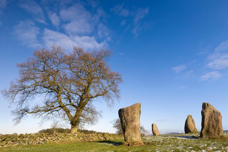 Nine Stone Close stone circle, Peak District National Park, Derbyshire, UK. March.