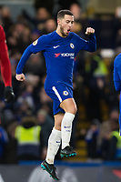 Chelsea's Eden Hazard celebrates scoring his side's third goal <br /> <br /> Photographer Craig Mercer/CameraSport<br /> <br /> The Premier League - Chelsea v West Bromwich Albion - Monday 12th February 2018 - Stamford Bridge - London<br /> <br /> World Copyright &copy; 2018 CameraSport. All rights reserved. 43 Linden Ave. Countesthorpe. Leicester. England. LE8 5PG - Tel: +44 (0) 116 277 4147 - admin@camerasport.com - www.camerasport.com