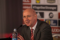 FAW head of public affairs Ian Gwyn Hughes during a press conference unveiling Ryan Giggs as the new Wales National team Manager at Hensol Castle, Vale of Glamoran, on 15 January 2018. Photo by Mark Hawkins.