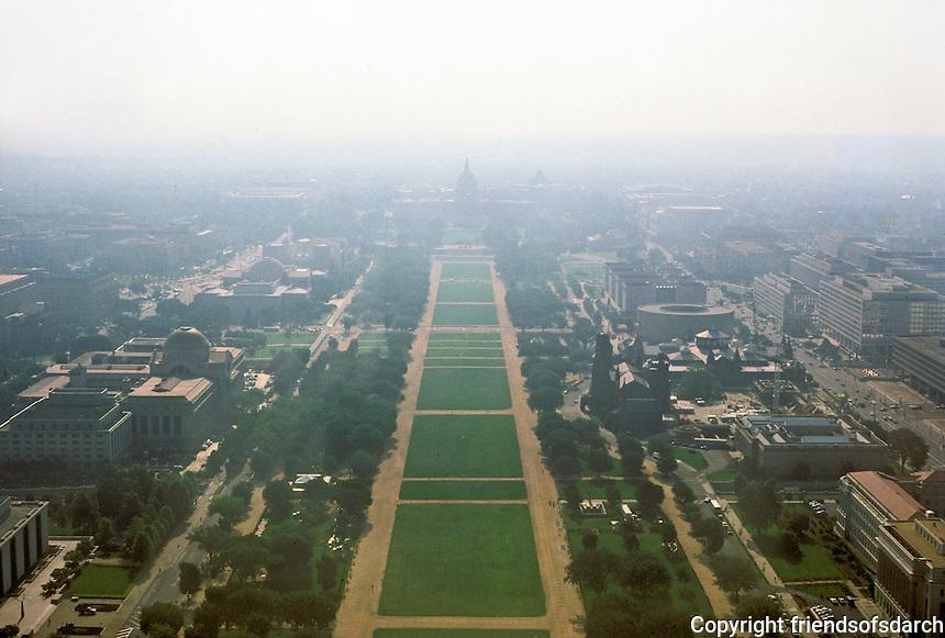 Washington D. C. : Capitol and Mall from Washington Monument. Photo '85.