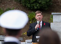 British Ambassador, Paul Madden gives an address at the  Remembrance Sunday ceremony at the Hodogaya, Commonwealth War Graves Cemetery in Hodogaya, Yokohama, Kanagawa, Japan. Sunday November 12th 2017. The Hodagaya Cemetery holds the remains of more than 1500 servicemen and women, from the Commonwealth but also from Holland and the United States, who died as prisoners of war or during the Allied occupation of Japan. Each year officials from the British and Commonwealth embassies, the British Legion and the British Chamber of Commerce honour the dead at a ceremony in this beautiful cemetery.