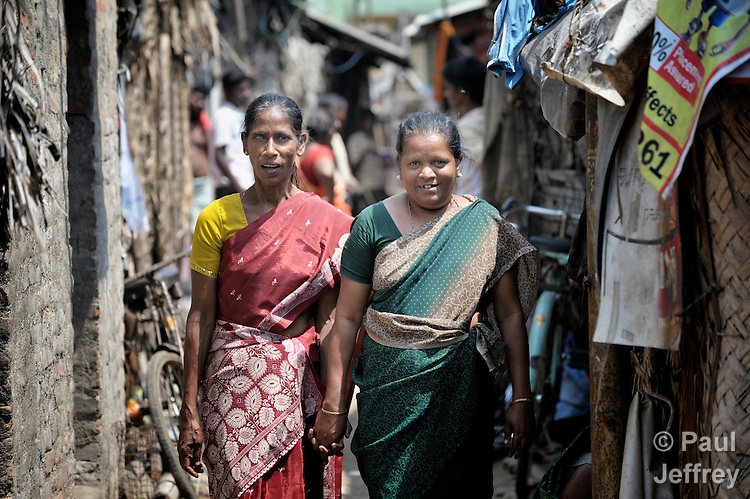 Two HIV positive woman in Chennai, India, who contracted HIV from their husbands who have since died. With help from the Madras Christian Council of Social Service, they are today involved in education and advocacy for others within their neighborhood. They requested that their names not be published.