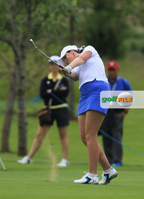 Olivia Mehaffey on the 2nd during the Friday morning Foursomes of the 2016 Curtis Cup at Dun Laoghaire Golf Club on Friday 10th June 2016.<br /> Picture:  Golffile | Thos Caffrey