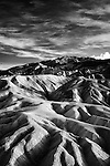 Black and white of formation at Zabriske Point in Death Valley