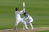 Tom Westley of Essex hits out as Lewis McManus looks on from behind the stumps during Essex CCC vs Hampshire CCC, Specsavers County Championship Division 1 Cricket at The Cloudfm County Ground on 19th May 2017