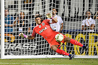 iOrlando, FL - Saturday Jan. 21, 2017: Corinthians goalkeeper Cassio Ramos (12) gets wrong-footed during the penalty shootout of the Florida Cup Championship match between São Paulo and Corinthians at Bright House Networks Stadium. The game ended 0-0 in regulation with São Paulo defeating Corinthians 4-3 on penalty kicks.