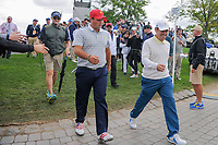 Patrick Reed (USA) and Louis Oosthuizen (RSA) make their way to 4 during round 3 Four-Ball of the 2017 President's Cup, Liberty National Golf Club, Jersey City, New Jersey, USA. 9/30/2017.<br /> Picture: Golffile | Ken Murray<br /> <br /> All photo usage must carry mandatory copyright credit (&copy; Golffile | Ken Murray)