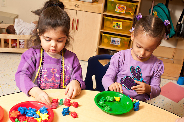 Education preschool 2-3 year olds two girls playing side by side with colorful plastic sorting bears and plates