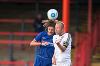 Ethan Ampadu of Chelsea U23 goes up with Scott Rendall of Aldershot Town during the pre season friendly match between Aldershot Town and Chelsea U23 at the EBB Stadium, Aldershot, England on 19 July 2017. Photo by Andy Rowland / PRiME Media Images.