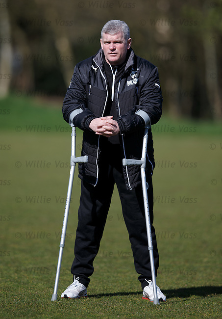 Ian Durrant on his crutches