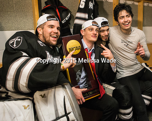 Brendan Leahy (PC - 1), Niko Rufo (PC - 11), Kyle McKenzie (PC - 5), John Gilmour (PC - 3) - The Providence College Friars celebrated their national championship win after the Frozen Four final at TD Garden on Saturday, April 11, 2015, in Boston, Massachusetts.