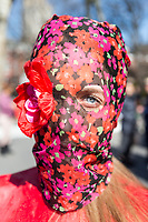 NEW YORK, NEW YORK - MARCH 8: A woman looks behind her protest suit as a protest during the women's strike in Washington Sq Park for Women's Day on March 8, 2020. in New York. 3,500 women were killed for gender reasons in 25 countries in Latin America and the Caribbean in 2019. UN said. (Photo by Pablo Monsalve / VIEWpress via Getty Images)