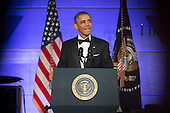 United States President Barack Obama delivers remarks at a dinner in honor of the Medal of Freedom awardees at the Smithsonian National Museum of American History on November 20, 2013 in Washington, D.C.<br /> Credit: Kevin Dietsch / Pool via CNP