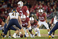 STANFORD, CA - November 18, 2017: Cameron Scarlett, K.J. Costello, Jesse Burkett, Daniel Marx at Stanford Stadium. The Stanford Cardinal defeated Cal 17-14 to win its eighth straight Big Game.