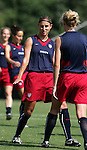 Nancy Augustyniak (l) with Stacey Tullock (r) on Saturday, October 22nd, 2005 at Blackbaud Stadium in Charleston, South Carolina. The United States Women's National Team went through a light practice the day before a game against Mexico.
