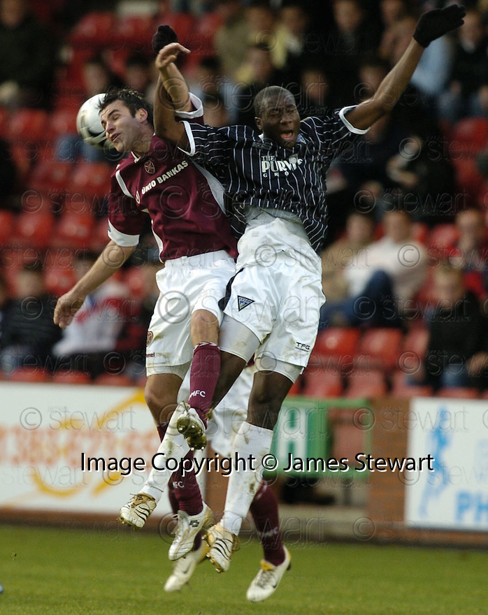 02/01/2007       Copyright Pic: James Stewart.File Name : sct_jspa07_dunfermline_v_hearts.MICHAL POSPISIL AND BAMABA CHALLENGE....James Stewart Photo Agency 19 Carronlea Drive, Falkirk. FK2 8DN      Vat Reg No. 607 6932 25.Office     : +44 (0)1324 570906     .Mobile   : +44 (0)7721 416997.Fax         : +44 (0)1324 570906.E-mail  :  jim@jspa.co.uk.If you require further information then contact Jim Stewart on any of the numbers above.........