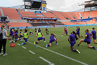 Houston, TX - Saturday June 17, 2017: Orlando Pride  warming up during a regular season National Women's Soccer League (NWSL) match between the Houston Dash and the Orlando Pride at BBVA Compass Stadium.