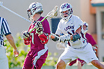 Los Angeles, CA 03/16/10 - Josh Roden (Chico State # 7) and Cyrus Pura (LMU # 15) in action during the Chico State-Loyola Marymount University MCLA interdivisional game at Leavey Field (LMU).  LMU defeated Chico State 7-4.