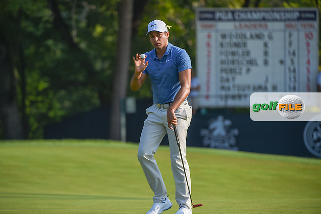 Julian Suri (USA) lines up his putt on 9 during 2nd round of the 100th PGA Championship at Bellerive Country Club, St. Louis, Missouri. 8/11/2018.<br /> Picture: Golffile | Ken Murray<br /> <br /> All photo usage must carry mandatory copyright credit (© Golffile | Ken Murray)