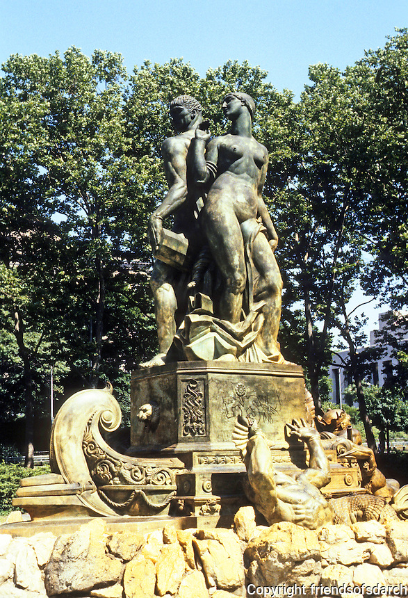 New York: Bailey Fountain--Grand Army Plaza. Architect Edgerton Swarthout and sculptor Eugene Savage, 1932. Photo '85.