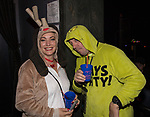 Heather and Robert Sebren during the Onesie Crawl held on Saturday night, Nov. 18, 2017 in downtown Reno.